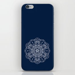 Navy Blue and White Flower Mandala iPhone Skin