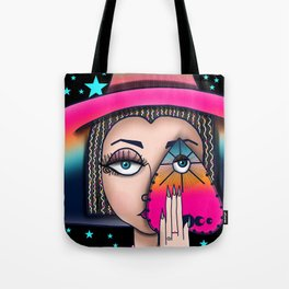 Witchy Woman, Ouija Witch Art, Gypsy Stars Tote Bag