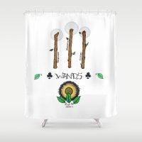 tarot Shower Curtains featuring Wand Tarot Card by JESSIE WEITZ