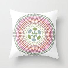 Retro floral circle 1 Throw Pillow