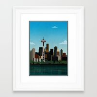 seattle Framed Art Prints featuring Seattle by WyattDesign