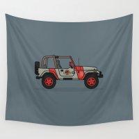 jurassic park Wall Tapestries featuring Jurassic Park Jeep by Adam Tetzlaff