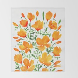 Watercolor California poppies Throw Blanket