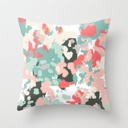 Ioro - painted abstract coral minimal mint teal bright southern charleston decor colors Throw Pillow