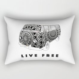 """Bus Life"" B&W Mandala Illustration Rectangular Pillow"
