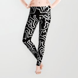 Homage to Keith Haring Black Leggings