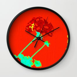 RED GERANIUM Wall Clock