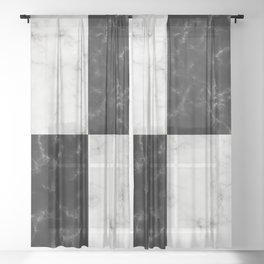 Bold Black & White Marble Pattern Sheer Curtain