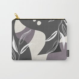 Abstract - Leaves and Vases in Grey  and Aubergine 4  Carry-All Pouch