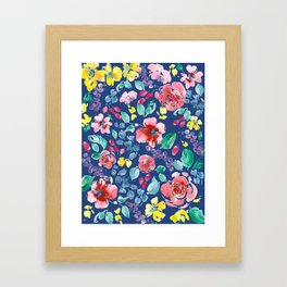 Summer Blooms on True Blue Framed Art Print