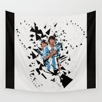 argentina Wall Tapestries featuring Football Legends: Lionel Messi Argentina by Akyanyme