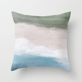 Ocean Aqua Blue Green Grass Beige Sand Abstract Tropical Hawaii Aerial Wall Art, Painting Throw Pillow