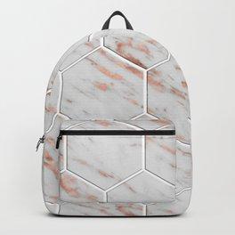 Rose gold honeycomb tiles Backpack