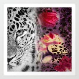 Black & White Leopard & Floral Collage Art Print