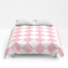 Large Diamonds - White and Pink Comforters