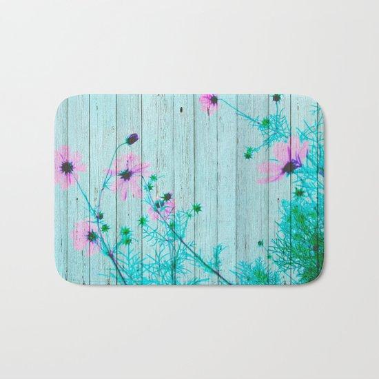 Sweet Flowers on Wood 03 Bath Mat