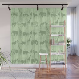Distressed Jungle Theme Animal Safari Green Elephants Lions Giraffes Rhinos on Stripes Wall Mural