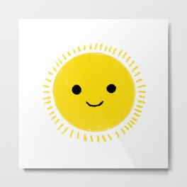 Happy yellow sun drawing with smily face Metal Print