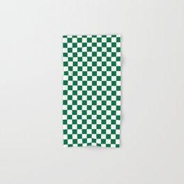 White and Cadmium Green Checkerboard Hand & Bath Towel