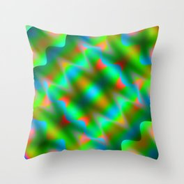 Bright pattern of blurry light blue and green flowers in a pastel kaleidoscope. Throw Pillow