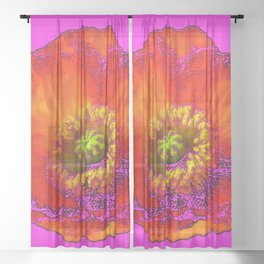 ARTISTIC FLAMING ORANGE POPPY FLORAL ON CERISE  VIOLET Sheer Curtain