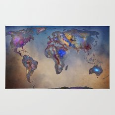 Stars world map. Blue Rug