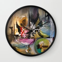 Abstract landscape color bubbles energy memories earth  Wall Clock