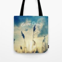 carpe diem Tote Bags featuring Carpe Diem by Sandra Arduini