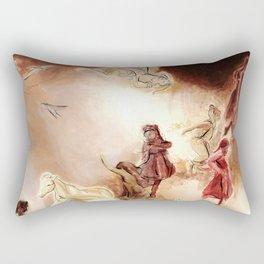 Imagined dream horses children dancing painting Rectangular Pillow