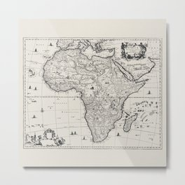Historic Map Of Africa Metal Print