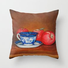 Teacup with Three Apples Throw Pillow