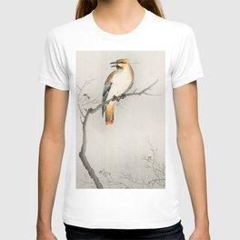 Bird sitting on tree - Vintage Japanese Woodblock Print Art T-shirt