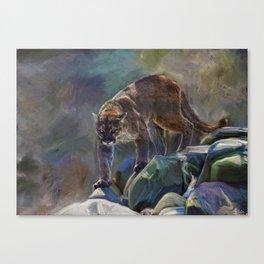 The Mountain King - Cougar Wildlife Art Canvas Print
