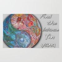 yin yang Area & Throw Rugs featuring Yin Yang by Sincronizarte