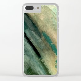 Green Thumb - an abstract mixed media piece in greens and blues Clear iPhone Case