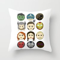 avenger Throw Pillows featuring Avenger Emojis :) by Jozi