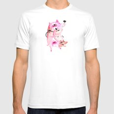 Three and Free Little Pigs White MEDIUM Mens Fitted Tee