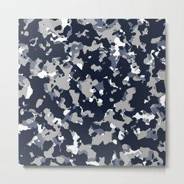 Blue Grey Camouflage Metal Print