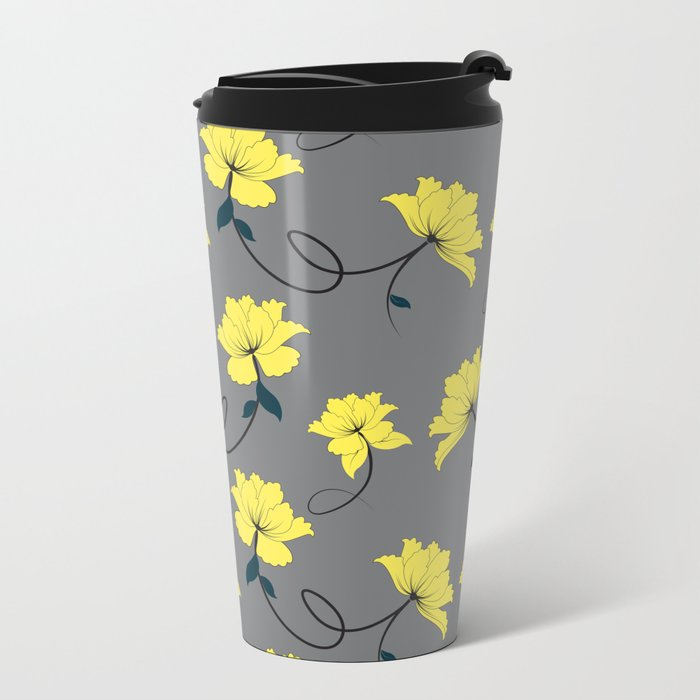 Yellow Flowers on Gray/Grey background, floral pattern Metal Travel Mug