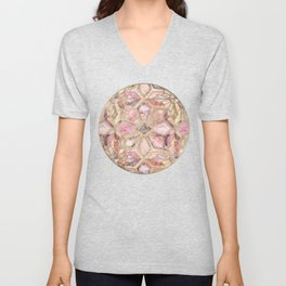 Geometric Gilded Stone Tiles in Blush Pink, Peach and Coral Unisex V-Neck