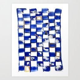 Blue and White Checks Art Print