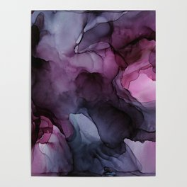 Abstract Ink Painting Ethereal Flowing Watercolor Nebula Poster