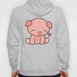 Cute Kawaii Pig With Heart Hoody
