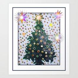 Christmas D3 - Stars & Tree Art Print