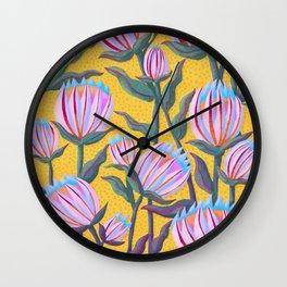 Bold Protea Flower Pattern - Pink Blue Green Purple Yellow Wall Clock