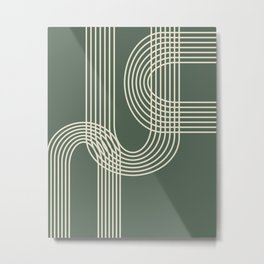 Minimalist Lines in Forest Green Metal Print