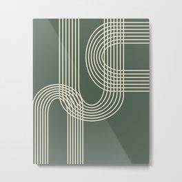 Minimalist Lines in Forest Green Metal Print