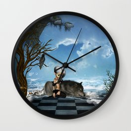 Cute fairy with wolf Wall Clock