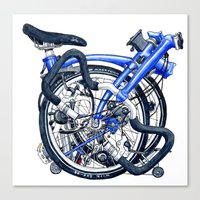 brompton Canvas Prints featuring Brompton Folded blue painting by Diana Powell