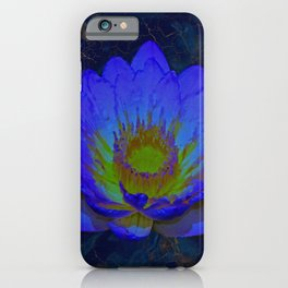 Blue Marble and Gold Watercolor Lotus iPhone Case
